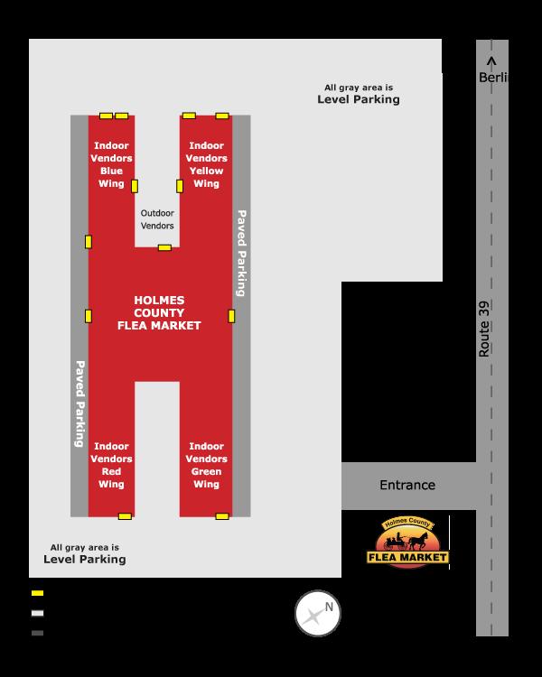 Holmes County Flea Market vendor map